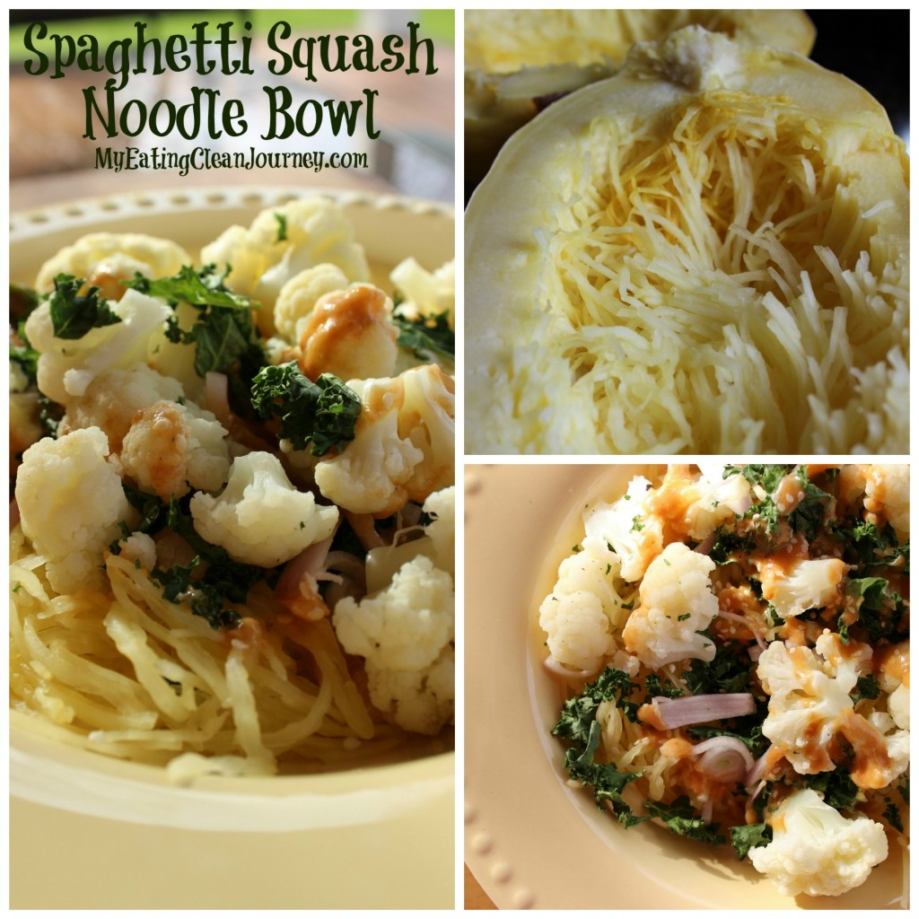 spaghetti squash noodle bowl collage